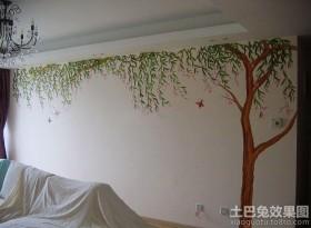 客厅植物手绘墙画图片大全