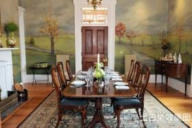 美式风格餐厅手绘墙壁画效果图