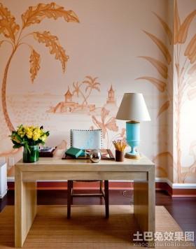 简约现代书房手绘墙壁画图片