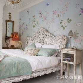 洛可可风格卧室手绘墙壁画效果图