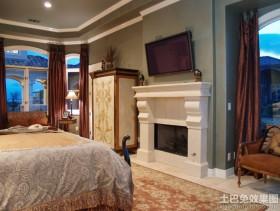 别墅卧室壁炉电视墙造型设计
