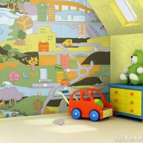 儿童房可爱手绘涂鸦墙图片