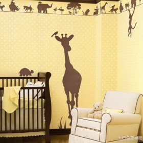 温馨儿童房手绘涂鸦墙图片