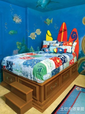 小孩房海底世界手绘儿童壁画图片