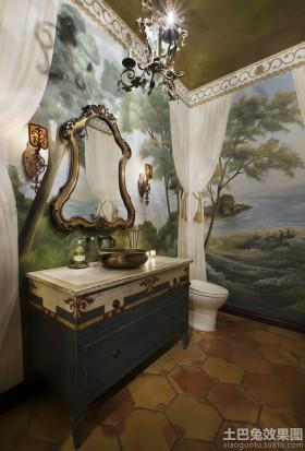 别墅卫生间欧式风景壁画