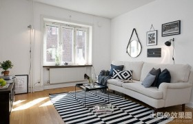 北欧风格40平单身公寓设计效果图