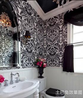 卫生间黑白条纹壁纸图片欣赏