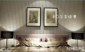 80后卧室黑白条纹壁纸图片