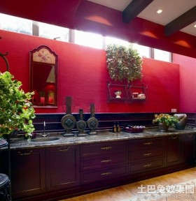 美式风格一字型厨房橱柜效果图