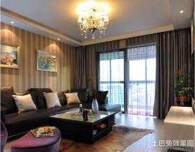 现代风格客厅条纹墙纸贴图图片