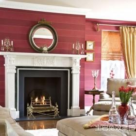 现代欧式客厅条纹墙纸贴图
