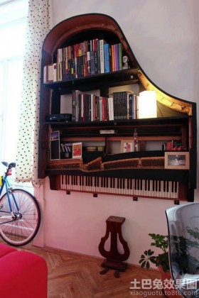 卧室钢琴创意书架效果图
