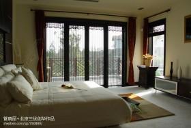 中式风格卧室阳台门装修效果图