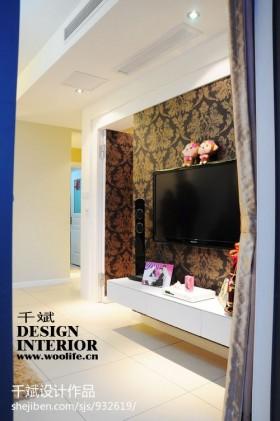 现代风格80后婚房装修客厅电视背景墙