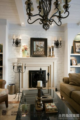 欧式风格客厅壁炉装修效果图欣赏
