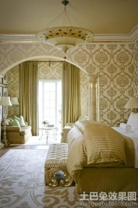 卧室欧式大花墙纸贴图