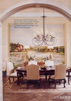 美式餐厅壁画背景墙效果图