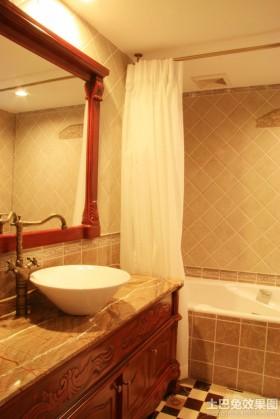 美式风格卫生间浴帘图片