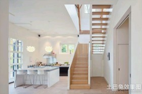 北欧风格室内实木楼梯效果图片