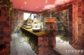 东南亚风格卫生间仿古瓷砖效果图