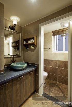 日式风格卫生间洗手台效果图