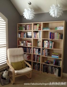 简约书房实木书柜图片
