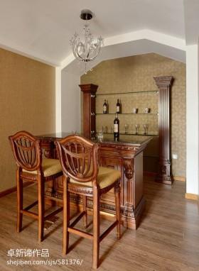 美式风格酒柜实木吧台设计效果图