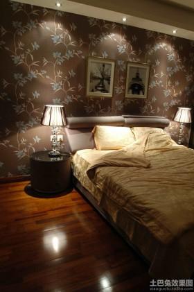 现代风格家庭装修卧室床头壁纸背景墙效果图