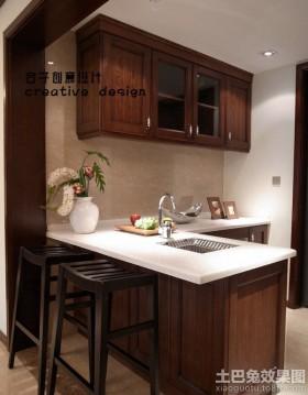 现代中式开放式厨房吧台装修效果图