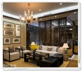 中式风格客厅木质屏风隔断装修效果图