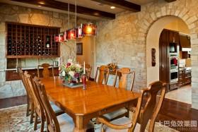 美式家装餐厅酒柜效果图