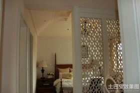 卧室镂空雕花屏风隔断效果图