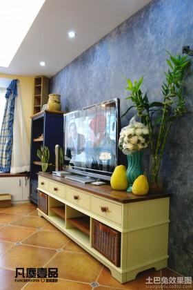 地中海风格彩绘电视背景墙装修效果图