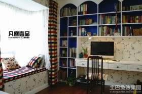 地中海风格书房飘窗装修效果图