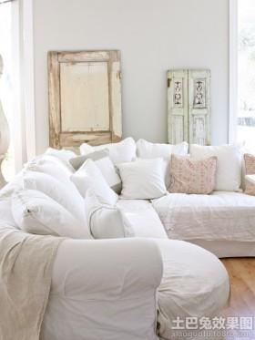 客厅白色布艺沙发套图片