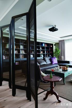 现代中式客厅实木屏风隔断效果图