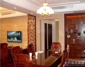 中式风格餐厅客厅红木屏风隔断效果图