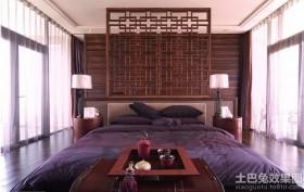 卧室床头红木屏风装修效果图