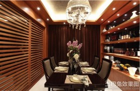 家装餐厅红木屏风背景墙装修效果图