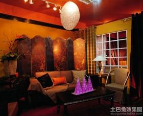 东南亚风格客厅屏风效果图