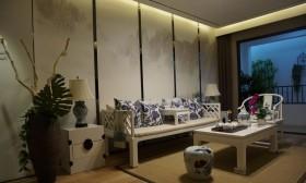 中式风格小户型客厅茶室效果图
