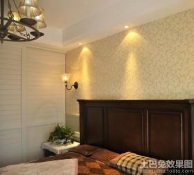 简约美式卧室壁纸装修效果图