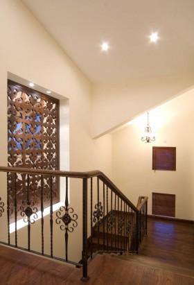 美式楼梯实木栏杆图片图片