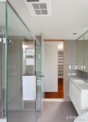 简洁卫生间玻璃门图片