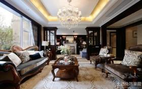 美式风格别墅样板房客厅吊顶装修效果图