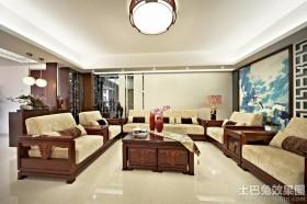 中式风格客厅不吊顶装修效果图