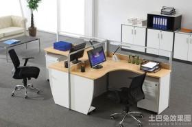 现代二人办公屏风桌效果图