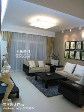 小户型中式客厅实木沙发摆放设计