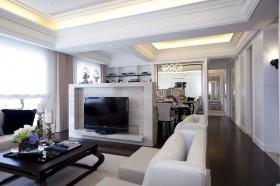 现代风格80平米小户型客厅电视墙隔断效果图