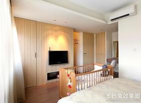 卧室木质电视背景墙装修效果图